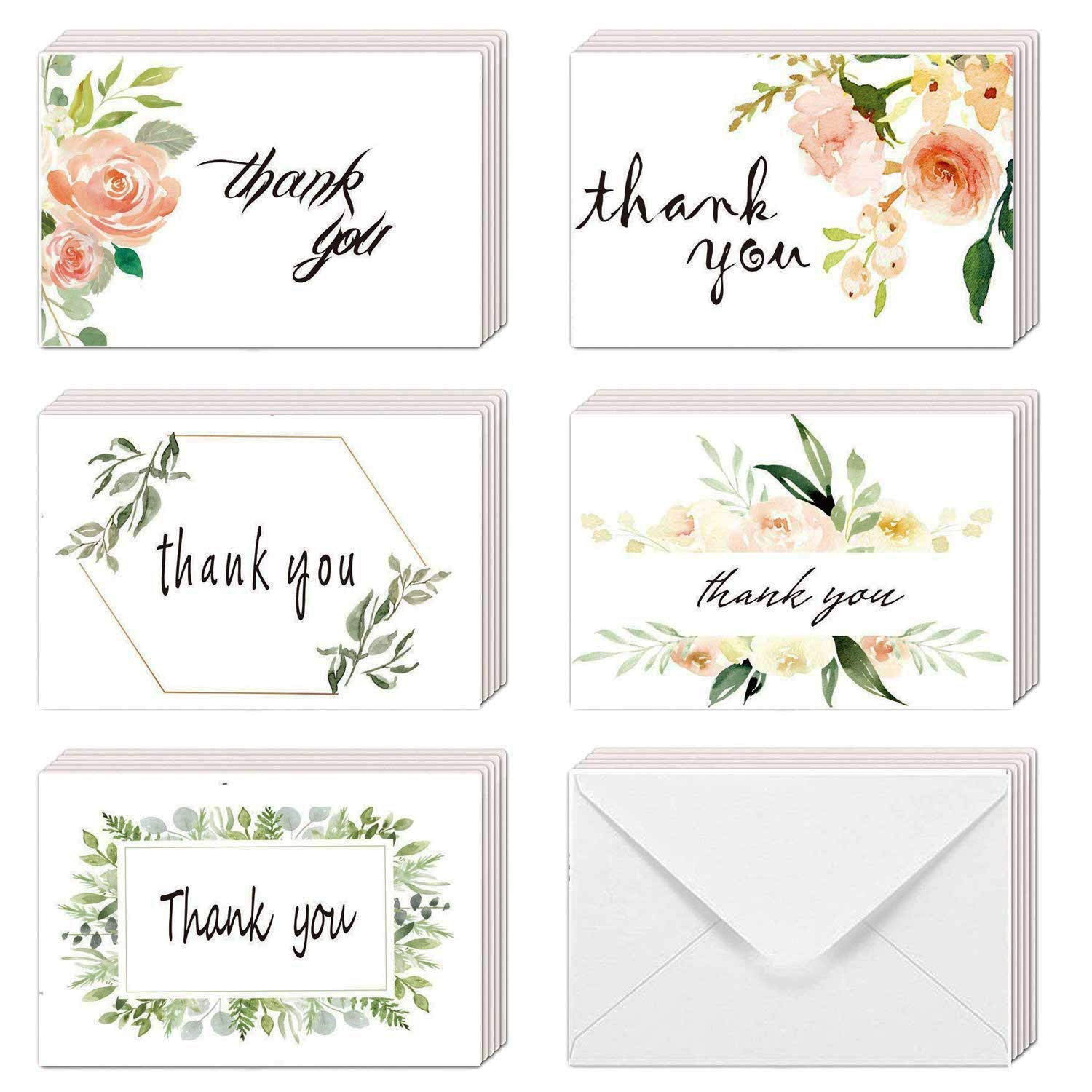 EHME Floral Thank You Cards for Wedding, Bridal Shower, Baby Shower Thank  You Notes Card with Envelopes and Stickers, 40 Bulk Pack Greenery Flower