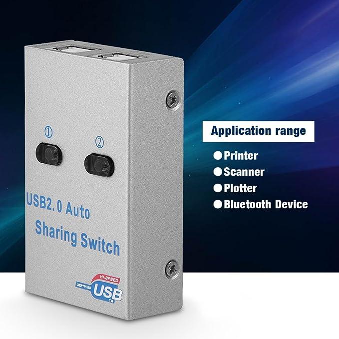 Tangxi Interruptor Uso Compartido USB, PC Computadora USB2.0 Interruptor de Uso Compartido Automático/Manual Hub Adaptador de 2 Puertos para Impresora/Escáner/Trazador: Amazon.es: Electrónica