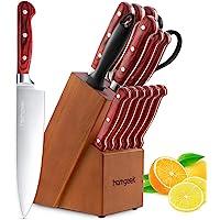Homgeek 15-Piece Kitchen Knife Set with Wooden Block