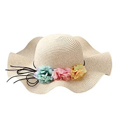 c2473fba805 Baby Girl s Pretty Floral Spring and Summer Children Straw Hat Little Girls  Beach Hat Sunshade Kids Flowers Sun Cap  Amazon.co.uk  Clothing