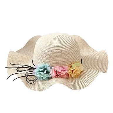 Chic-Chic Chapeau Fille Enfants Bébé Soleil Bonnet de Paille Mignon Fleur  Floral Plage Voayge Vacances Ete Beige Taille Unique  Amazon.fr  Vêtements  et ... 80f8eaf224d