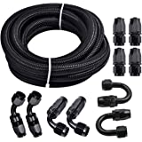 Fuel Line Hose Kit, Nylon Stainless Steel Braided 3/8 Fuel Line 6AN 20FT Oil/Gas/Fuel Hose End Fitting Hose with 10PCS Swivel