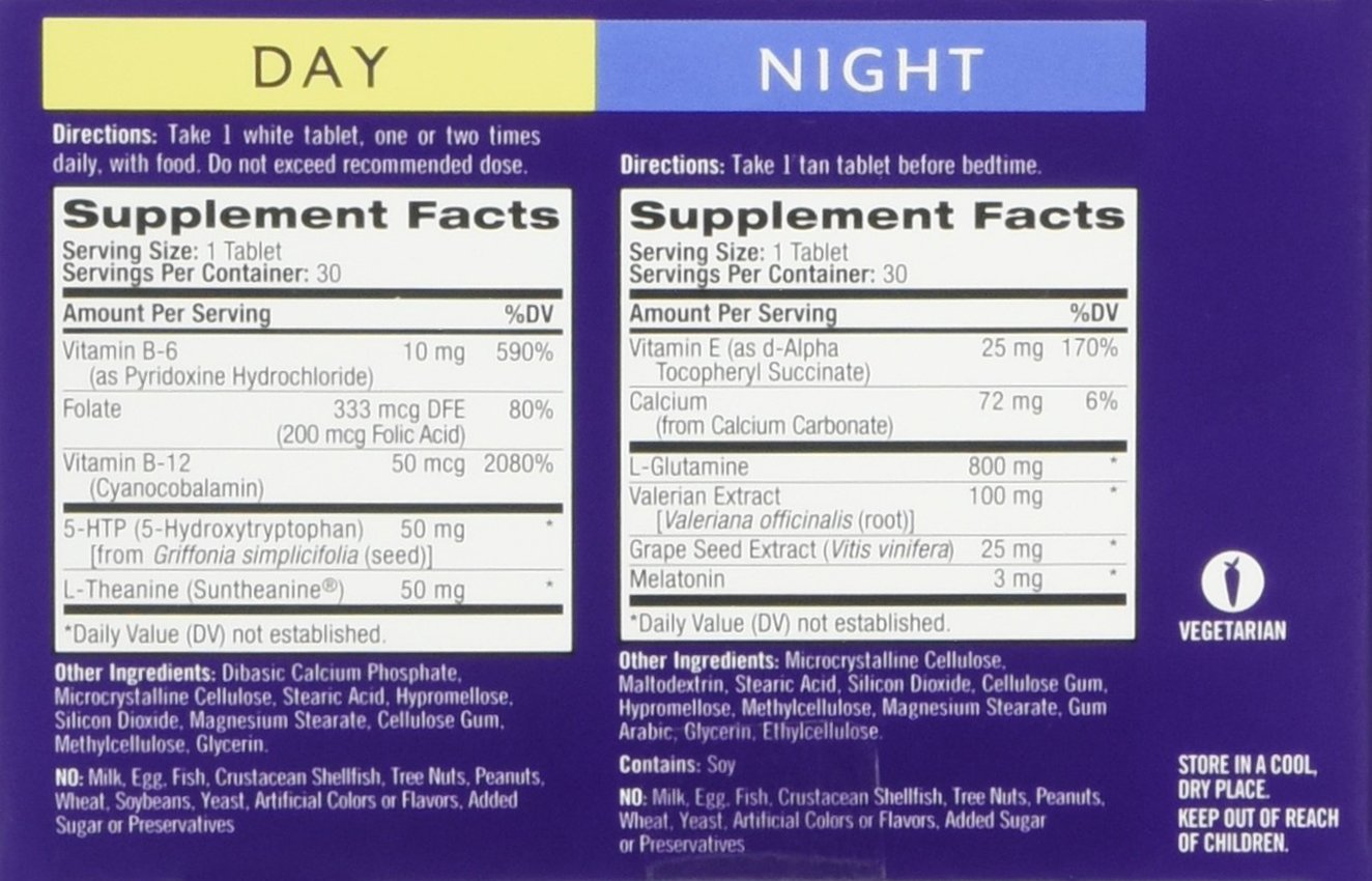 Natrol Stress and Anxiety - Day and Night Tablets, Promotes a Calm Mood in  the Day, Helps you Fall Asleep