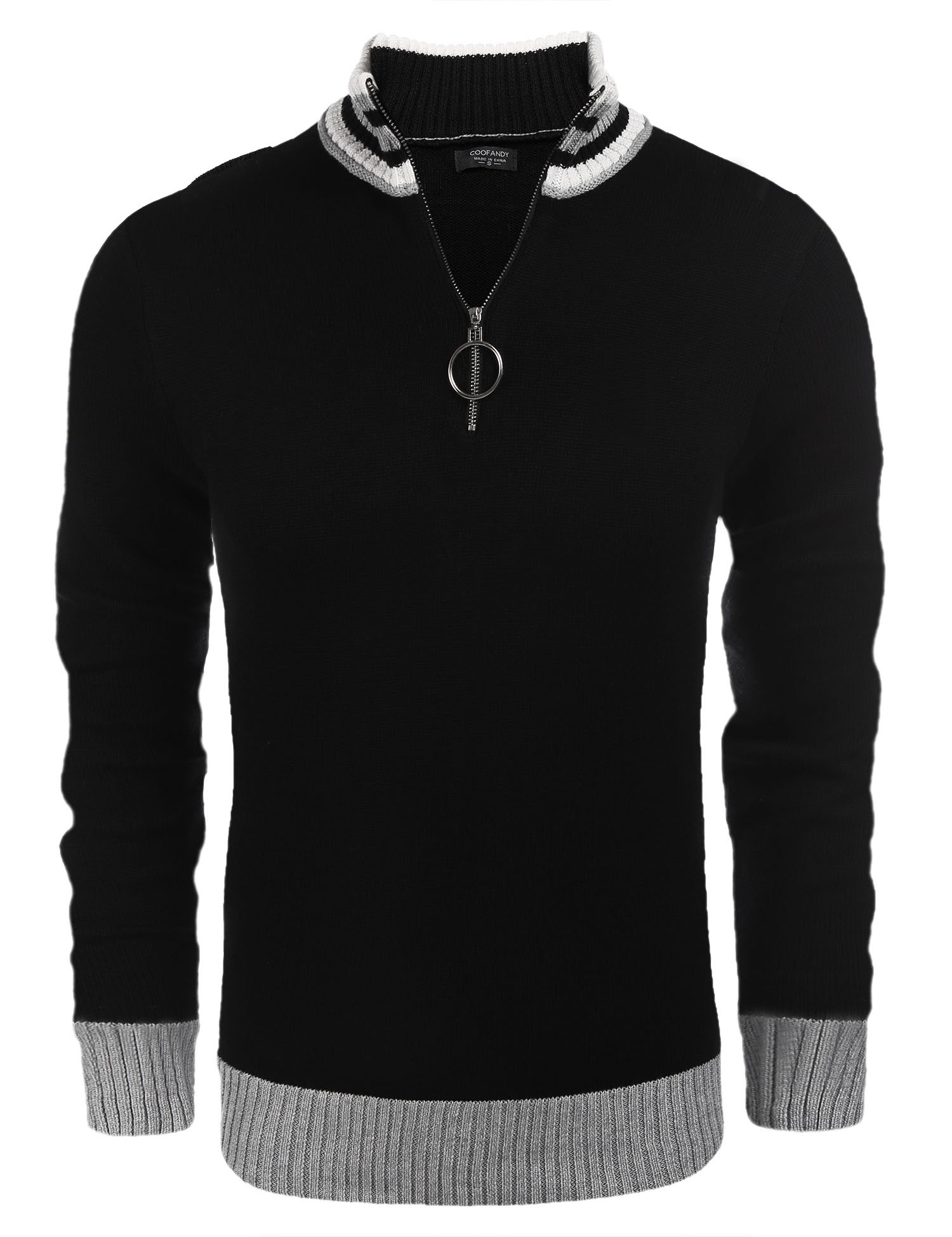 COOFANDY Men's Business Casual Crew Neck Long Sleeve Sweater Quarter-Zip Pullover by COOFANDY (Image #2)