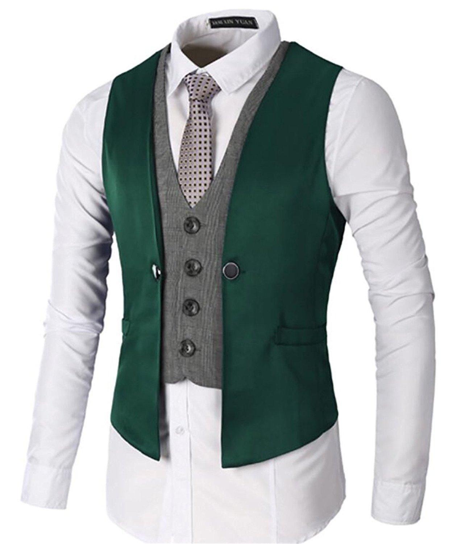 Cheryl Bull Fashion Mens Casual Formal Fake Two Layered Skinny Dress Wedding Vest Waistcoat GreenUS Large
