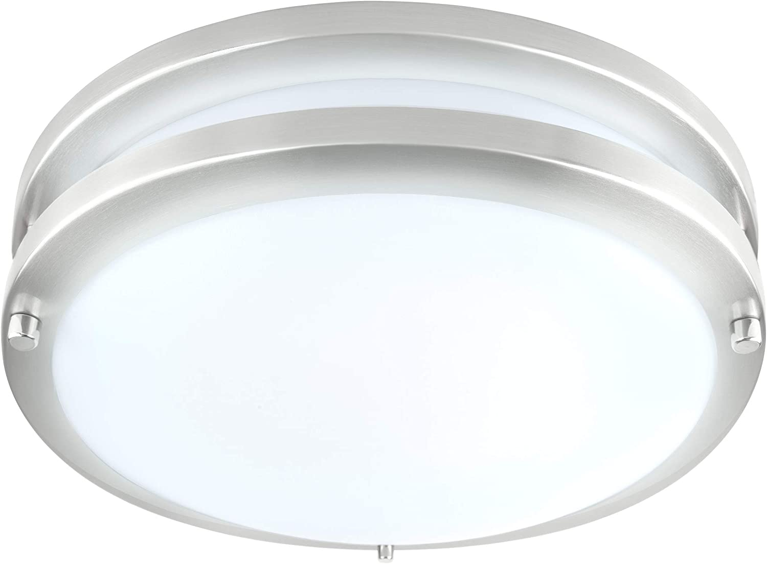 LB72171 LED Flush Mount Ceiling Light, 10 inch, 17W (120W Equivalent) Dimmable 1350lm, 5000K Daylight, Brushed Nickel Round Lighting Fixture for Kitchen, Hallway, Bathroom, Stairwell