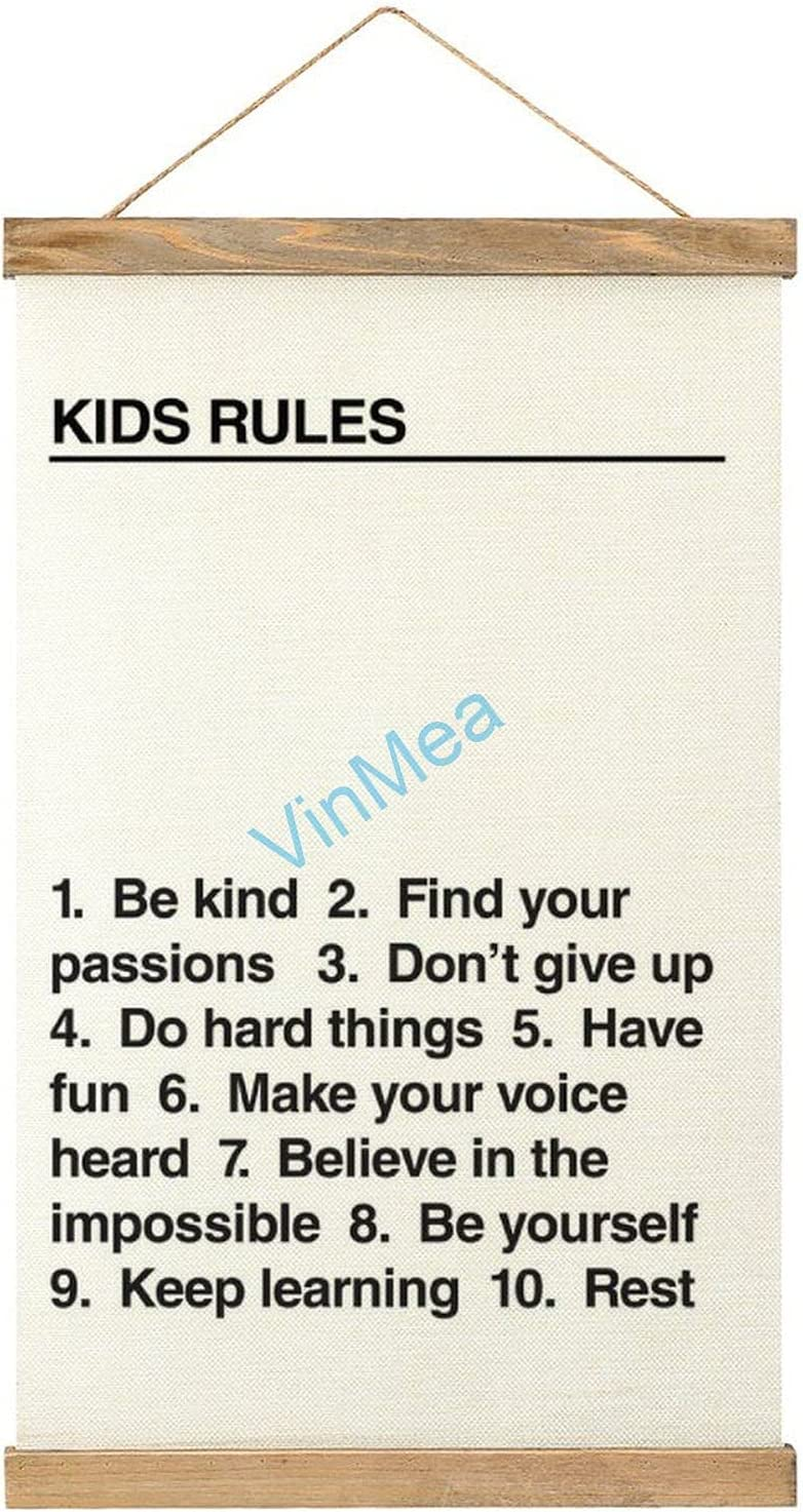 VinMea Canvas Poster Hanging Painting Kids Rules, Framed Wooden Print Posters Hanging for Walls Home Decor Canvas Artwork 12