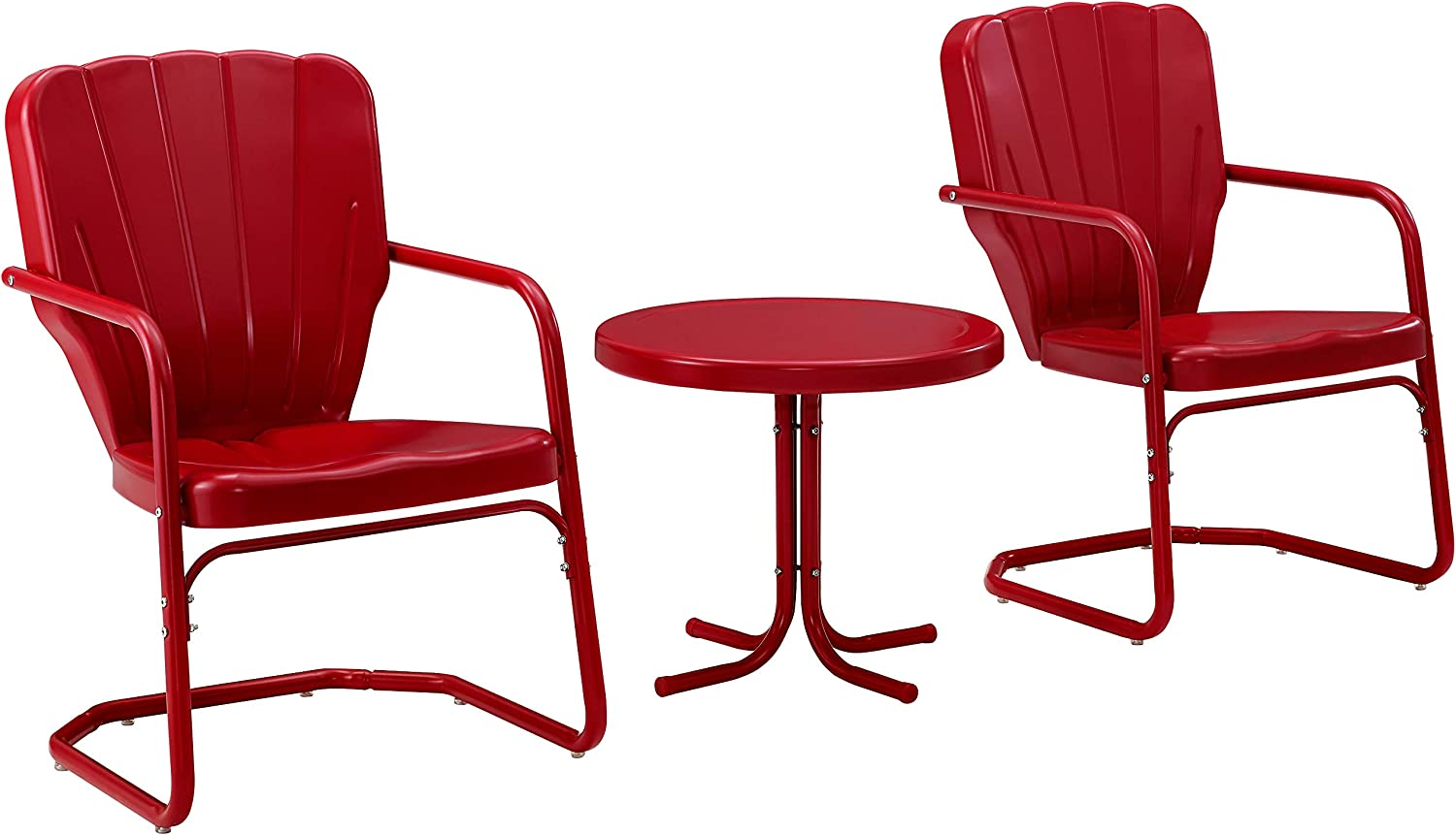 Crosley Furniture KO10012RE Ridgeland Retro Metal 3-Piece Seating Set with 2 Chairs and Side Table, Red