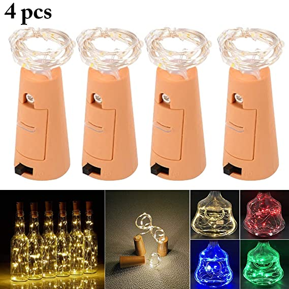 Outgeek 4PCS 3.3ft Wine Bottle Light Decorative LED Cork Light Bottle Light for Party