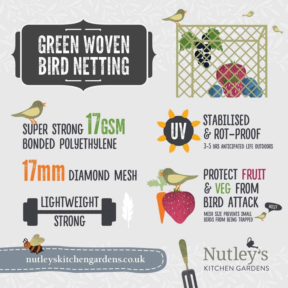 Nutley's 10m x 6m Woven Bird Netting - Green Nutley's FLE08BN10