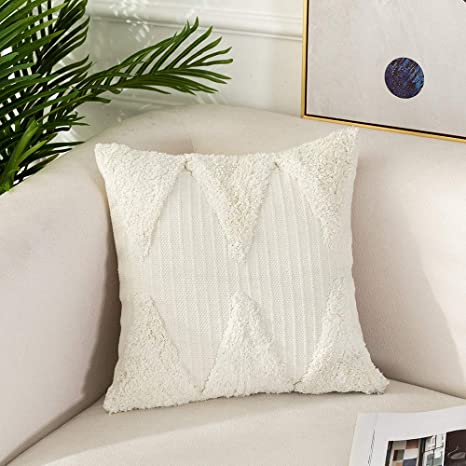 Amazon Com Ojia Boho Decorative Throw Pillow Cover Tufted Woven Shag Pillowcase Minimalist Neutral Collection Accent Square Cushion Cover For Farmhouse Bed Sofa Living Room Bedroom 18 X 18 Inch Cream White Home