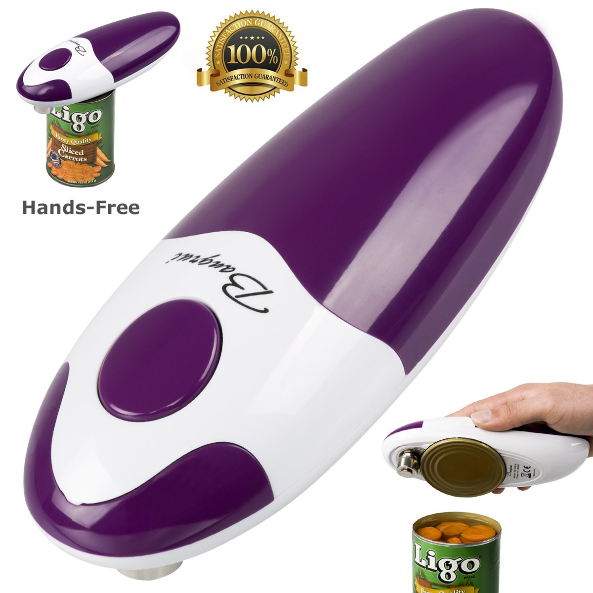 Kitchen Restaurant Mama Manual Automatic Safety Electric Can Opener& Bangrui Professional Electric Can Opener.One-Touch Switch .Smooth can Edge.Being Friendly to Left-Hander and arthritics! (Purple) by BangRui