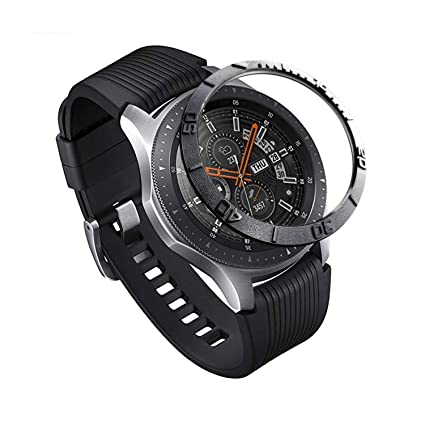Topictogo Stainless Steel Bezel Ring for Galaxy Watch 46mm - Gear S3 Frontier & Classic - Cover Protector Adhesive Styling Scratch Protection ...