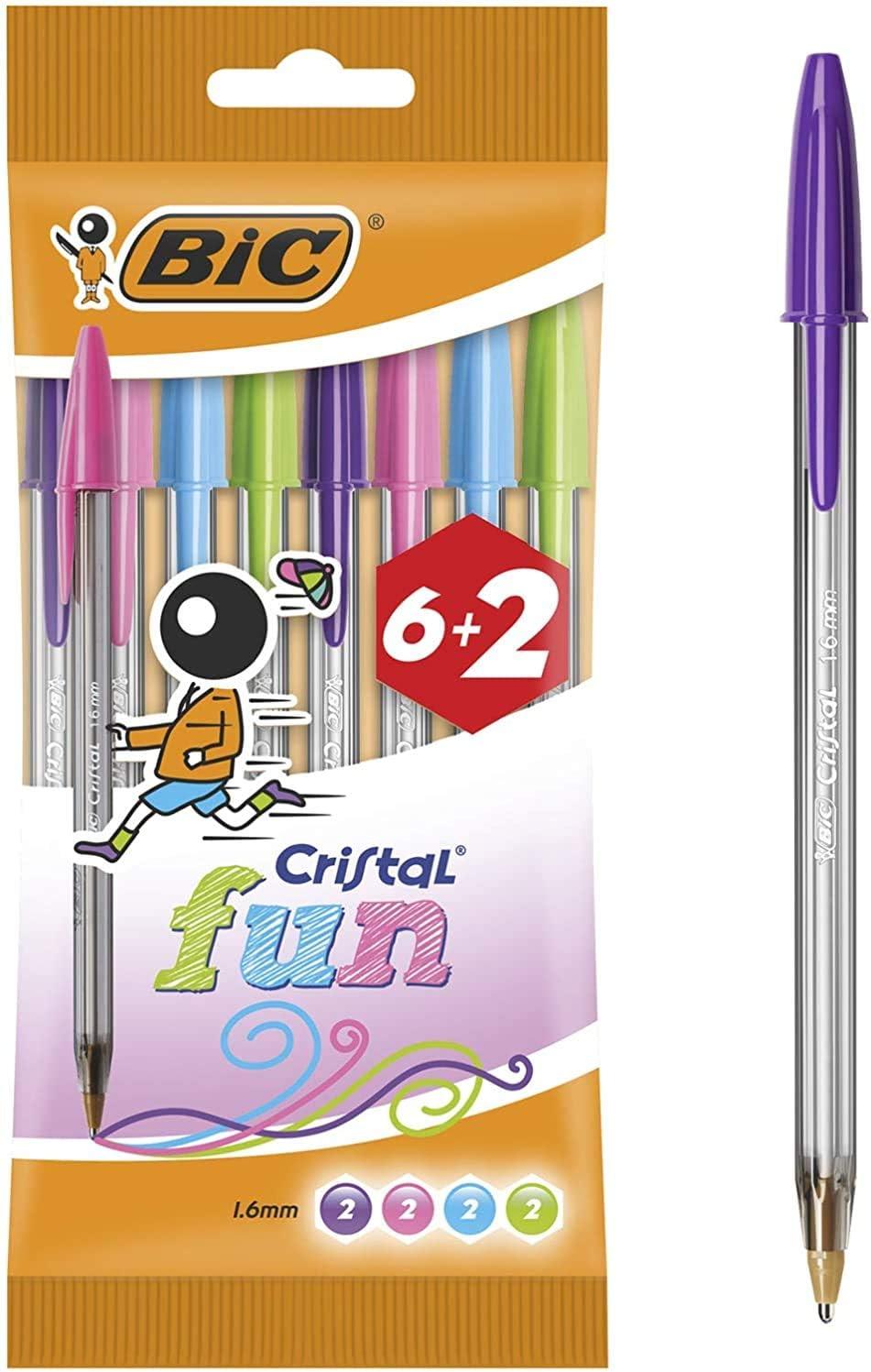 BIC Cristal Fun Bolígrafos Punta Ancha (1,6 mm) – Colores Surtidos, Blíster de 6+2 Unidades - Bolígrafos para escritura suave en color morado, rosa, verde lima y turquesa: Amazon.es: Oficina y papelería