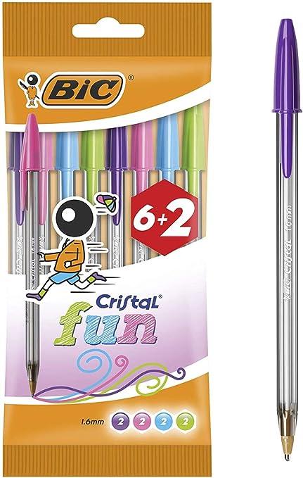 BIC Cristal Fun, Bolígrafos Punta Ancha (1.6 mm): Amazon.es ...