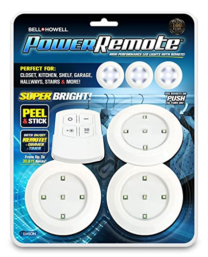130be4603550 Bell+Howell Power Remote PODS Super Bright High Performance LED Lights As  Seen On TV (Pack of 3) - - Amazon.com