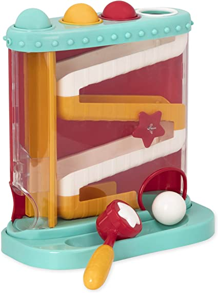 4 Balls Battat Pound and Roll Learning Toy for Toddlers Includes Hammer