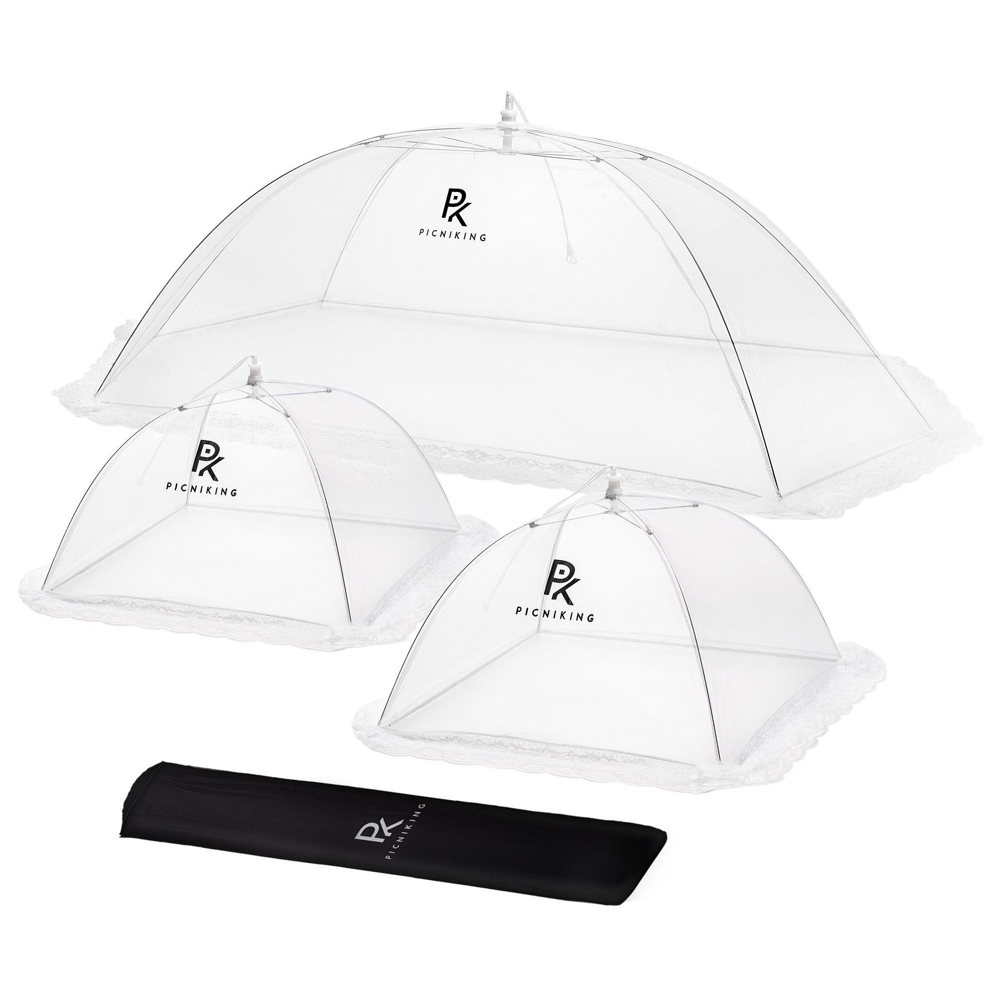 (3 Pack) PicniKing Mesh Food Covers/Food Tents | 1 XL (49x27x17) & 2 Standard (17x17x12) | Fine Screen | Upgraded Rods | Double Layer Skirt | Guaranteed Bug Protection