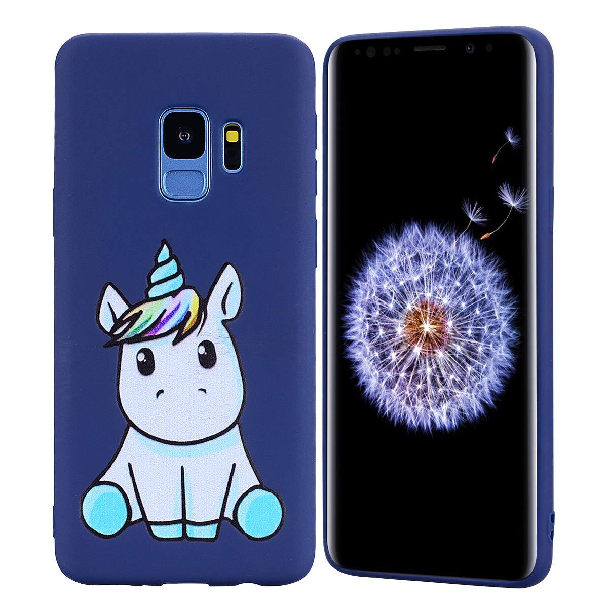 HopMore Coque Samsung Galaxy S9 Silicone Souple Motif Licorne Unicorn Drôle Mignonne Design Etui Samsung S9 Étui Antichoc Ultra Mince Fine Gel Bumper Slim Case Housse Protection pour Fille Femme - Rose Mat
