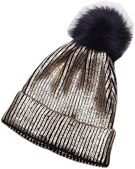 3e676bdafbdd1e bettyhome Womens Winter Fur Pompom Beanie Wool Knitted Warm Lined Hat Ski  Skull Caps Sparkle Shiny (Gold) at Amazon Women's Clothing store: