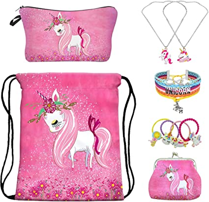 YRUBOHA Gifts for Girls Unicorn Drawstring Backpack,Unicorn Makeup Bag,Unicorn Jewerly Necklace Bracelet,Hair Ties