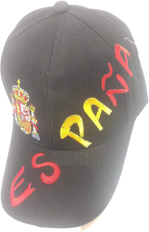 Gorras DE españa con el Escudo para Deporte Futbol y Viajes Ajustable DE Tallas (Negro): Amazon.es: Zapatos y complementos