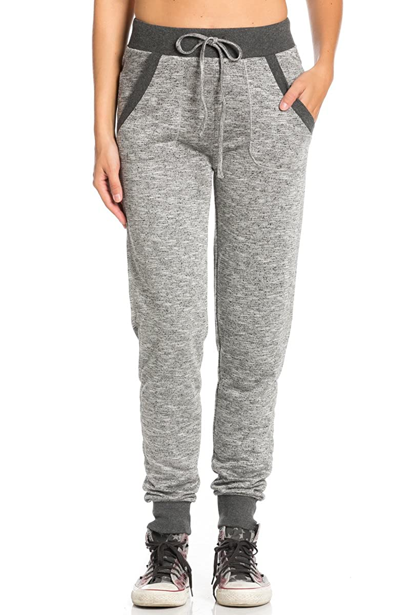 My Yuccie Women's Slim French Terry Jogger Sweatpants with Side Pockets