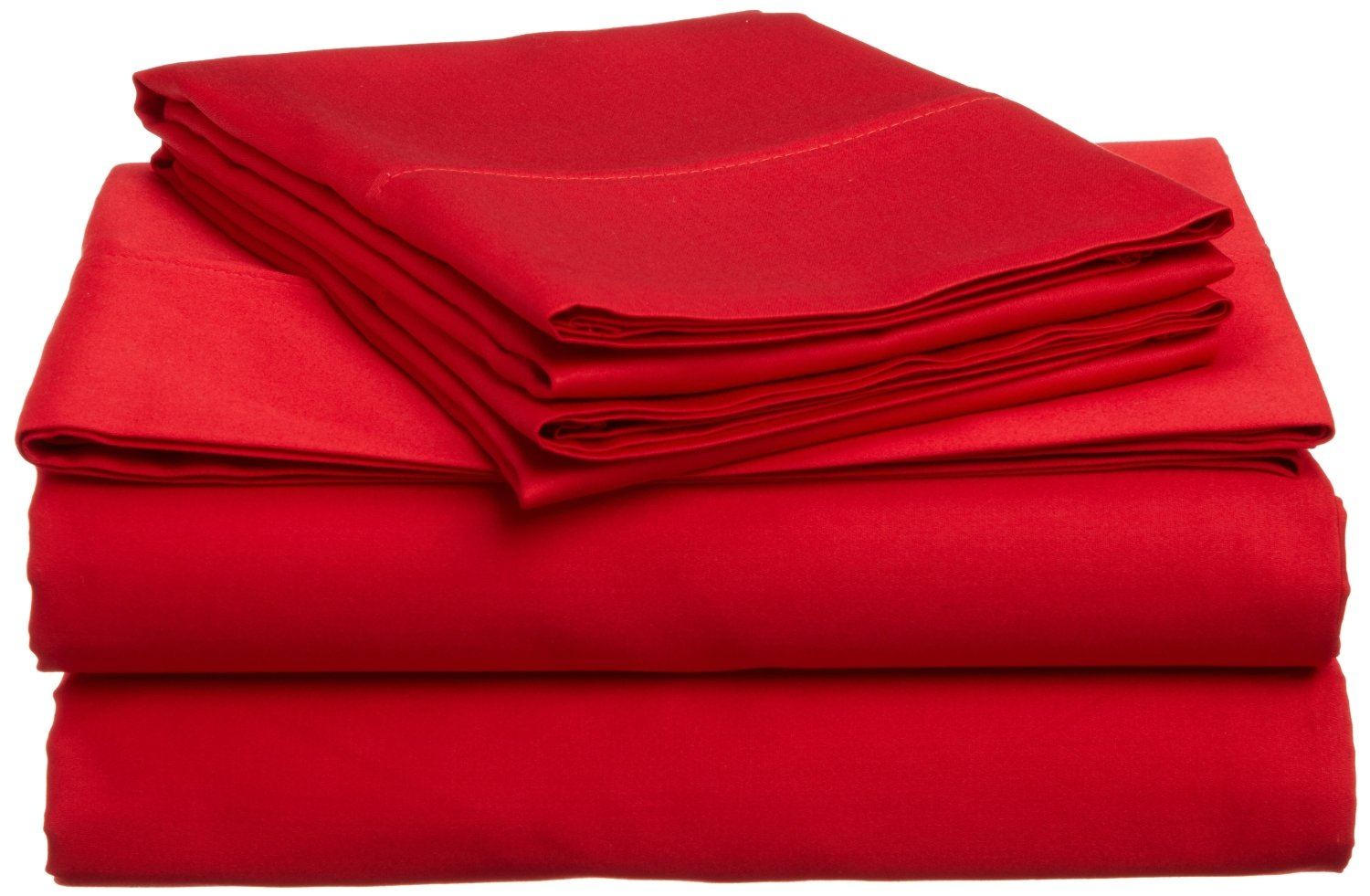 Bed Life Solid Red - Top / Flat Sheet With Matching Pillow Cases ( Set of 3 Pack ) 500 TC Ultra Soft Sizes ( Full XL ) Made By Galaxy's Linen