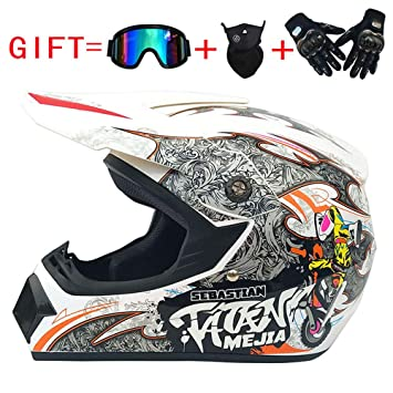 Wenyan Adulto Motocross Casco MX Moto Casco ATV Scooter ATV Casco D. O. T Certificado Rockstar Gafas