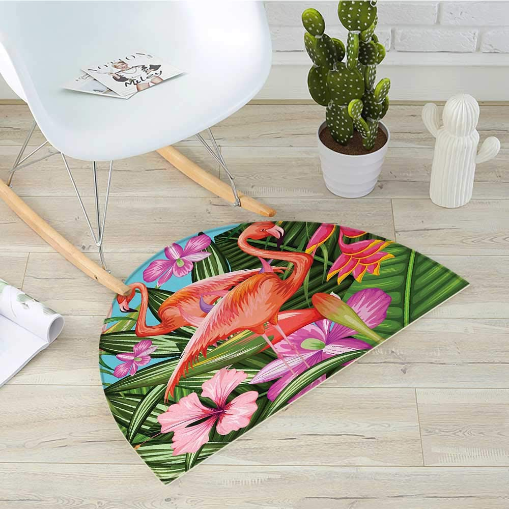 Flamingo Half Round Door mats Flamingos with Exotic Hawaiian Leaves Flowers on Striped Vintage Background Bathroom Mat H 51.1' xD 76.7' Green Pink White