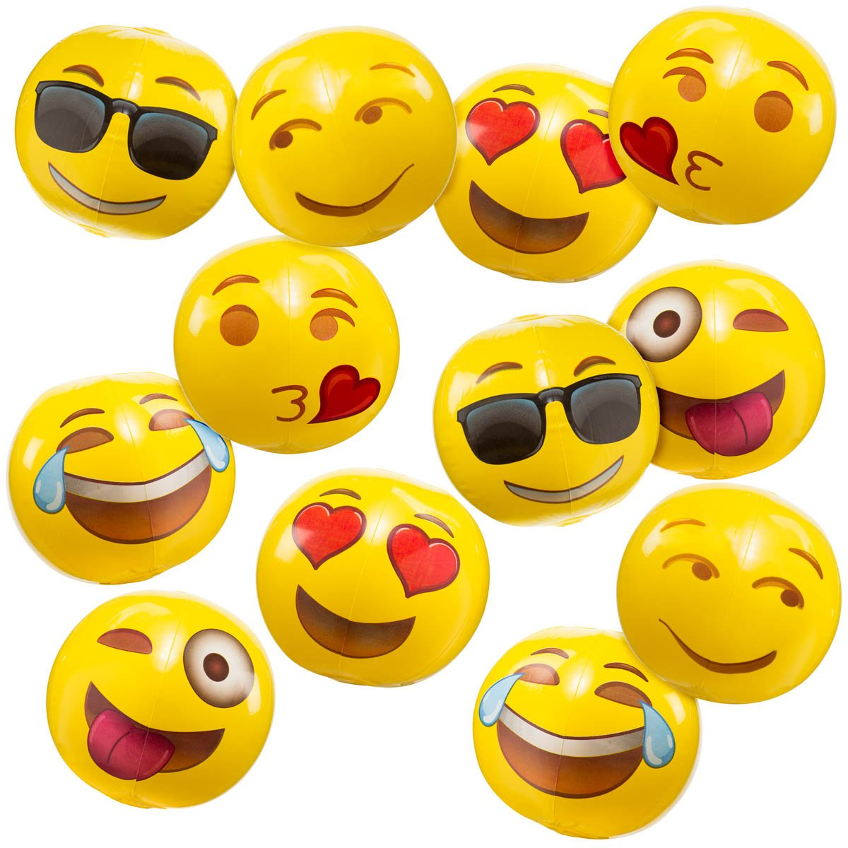Go Toys Emoji Inflatable Beach Balls 8'' when inflated | Pack of 12 | Unique designs | Perfect for Parties, Games, and more, Your kids will enjoy it at the beach, sand, Bathtubs. by Go Toys