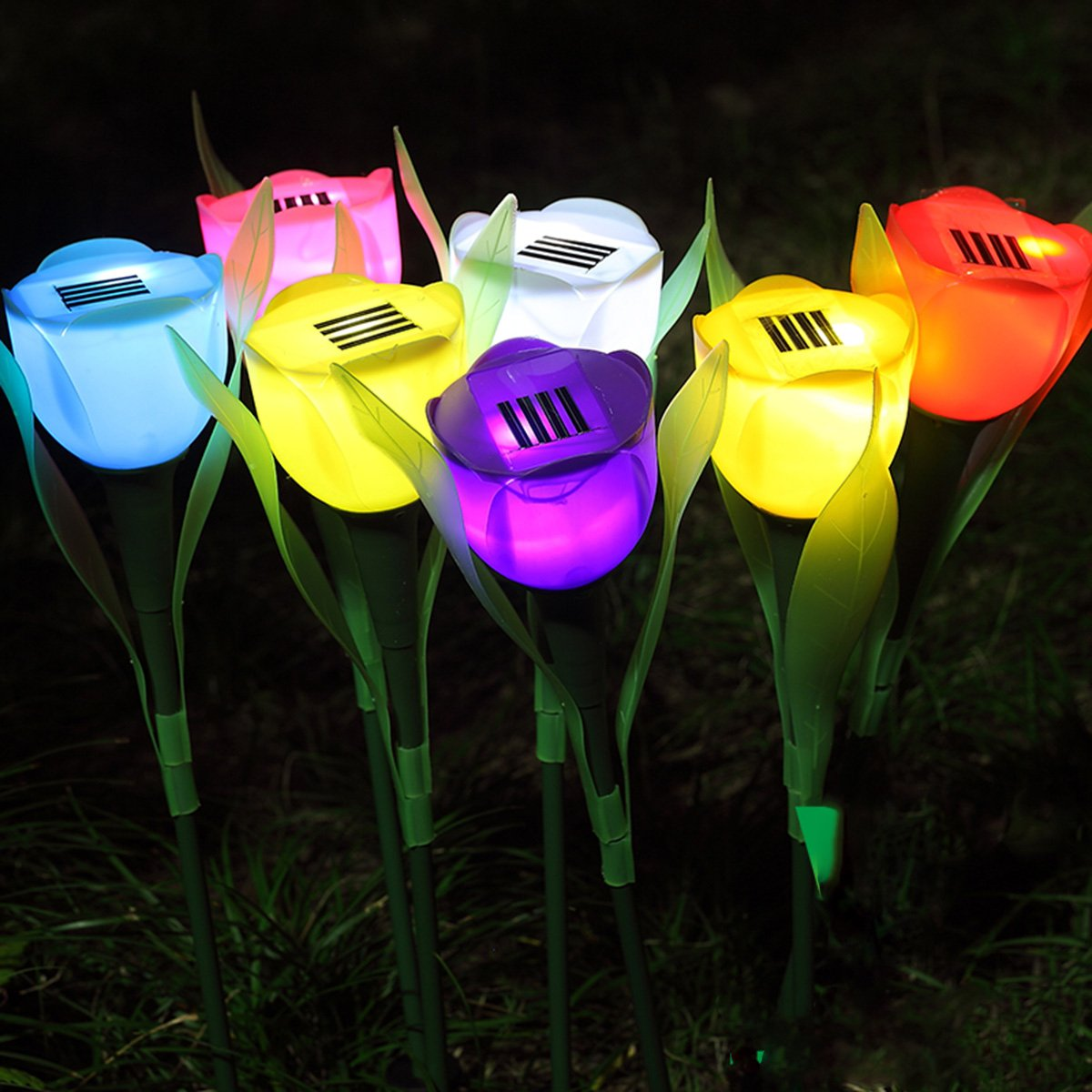 Solar Power Light Sensor LED Tulip Garden Stake Flowers Decorative Patio Lawn Lamp Path Landscape in-ground Light up White One Size