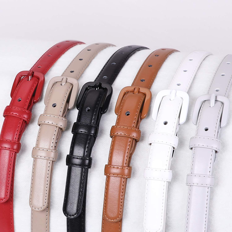 Women Skinny Leather Belt Thin Waist Jeans Belt for Pants in Pin Buckle Belt by WHIPPY