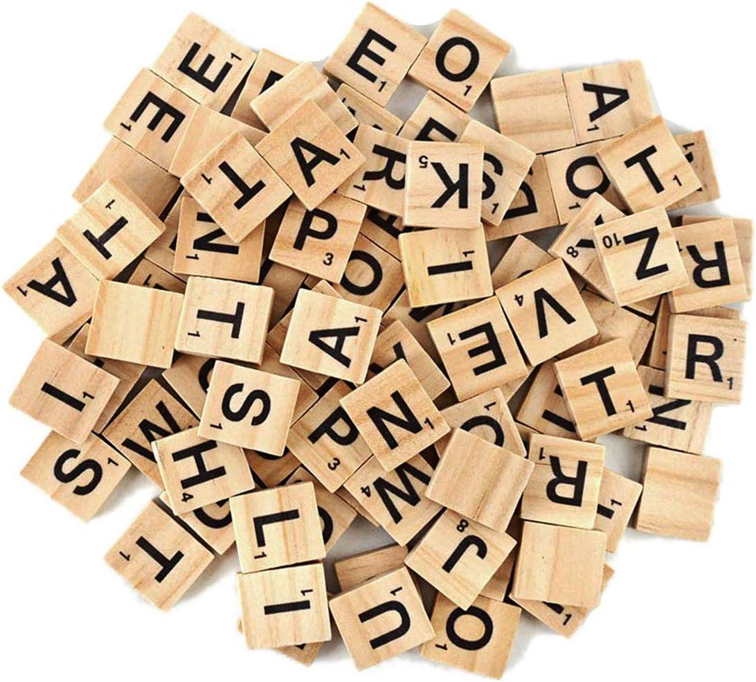 Fichas de reemplazo para juegos de mesa tipo Scrabble, fichas de letras en madera, para artesanías, marco de boda y arte de pared, 100 piezas.: Amazon.es: Hogar