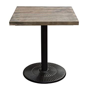 Amazon lincoln vintage 28 square bistro table with weathered lincoln vintage 28quot square bistro table with weathered grey top and black powder coat base watchthetrailerfo