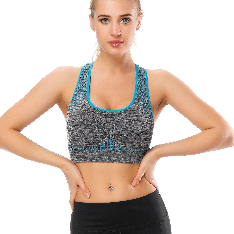 Choose Color /& Size Padded Seamless for Women Pocket Yoga Workout Gym Bras TOBWIZU Racerback Sports Bra