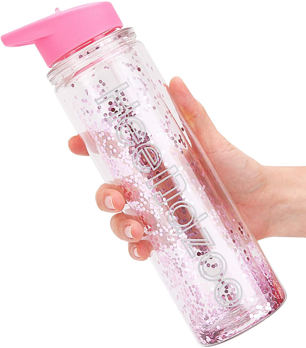 Girls Water Bottles With Straw For School,18oz Glitter Water Bottles Kids,Water Bottoles For Women,Leak Proof,Plastic BPA Free,Double Wall Insulated,Keep Beverages Hot or cold,for Fitness,Sports (Pink)