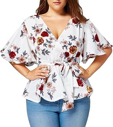 SHOBDW Moda para Mujer Estampado Floral más tamaño Flojo de ...