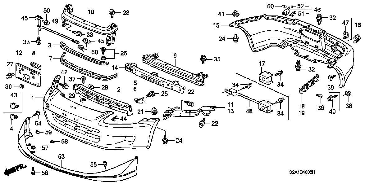 Genuine Honda 71102-S2A-010 Bumper Grille