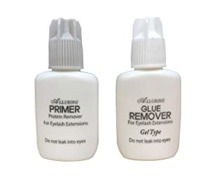 Alluring Extra Strength Adhesive Glue Remover Gel Type & Alluring Primer (Protein Remover) for Eyelash Extensions