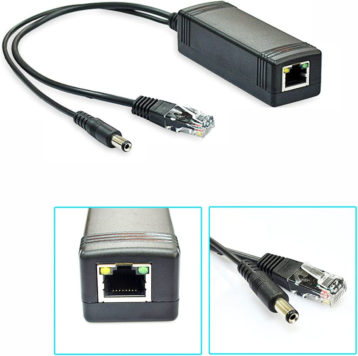 2-Pack 802.3af PoE Splitter Wireless AP Router Voip Phone iCreatin 48V to 12V Power Over Ethernet Adapter for 10//100Mbps IP Camera