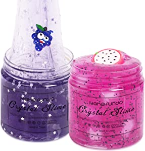 Hahafunyo 2 Pack Crystal Clear Slime Kit with Pitaya, Emoji Grape and Glitter Stars, Soft Jelly Cube Clear Mud, Beautiful Purple Pink Premade Slime Non Sticky DIY Toy for Boy Girl Birthday Party Favor