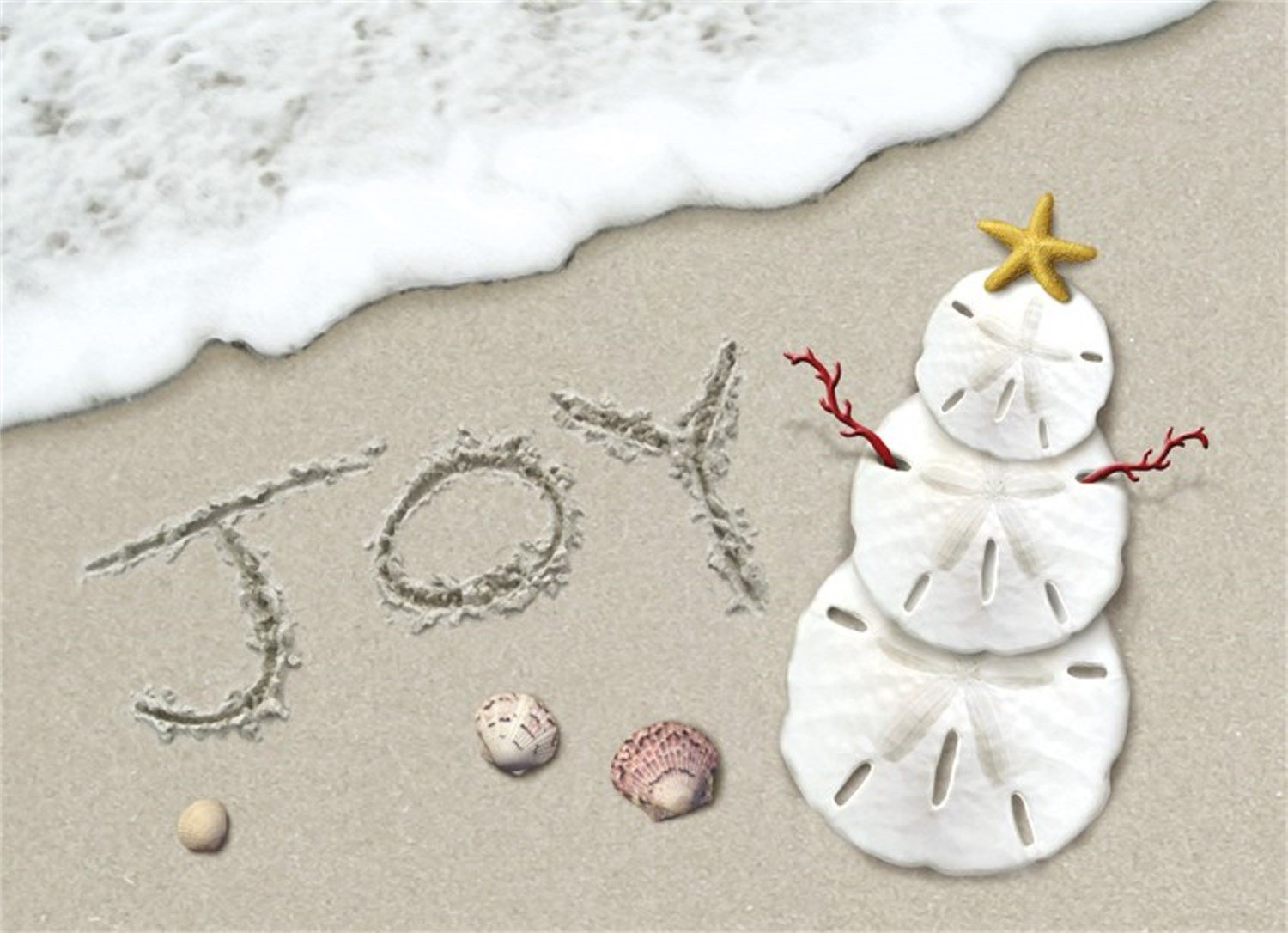 amazoncom 18 christmas cards and envelopes joy surf sand dollar snowman on the beach office products