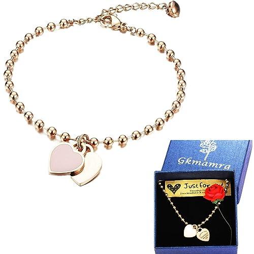 b830ee0c9ba7 Gkmamrg Mujer Pulsera con Grabado Rose Oro
