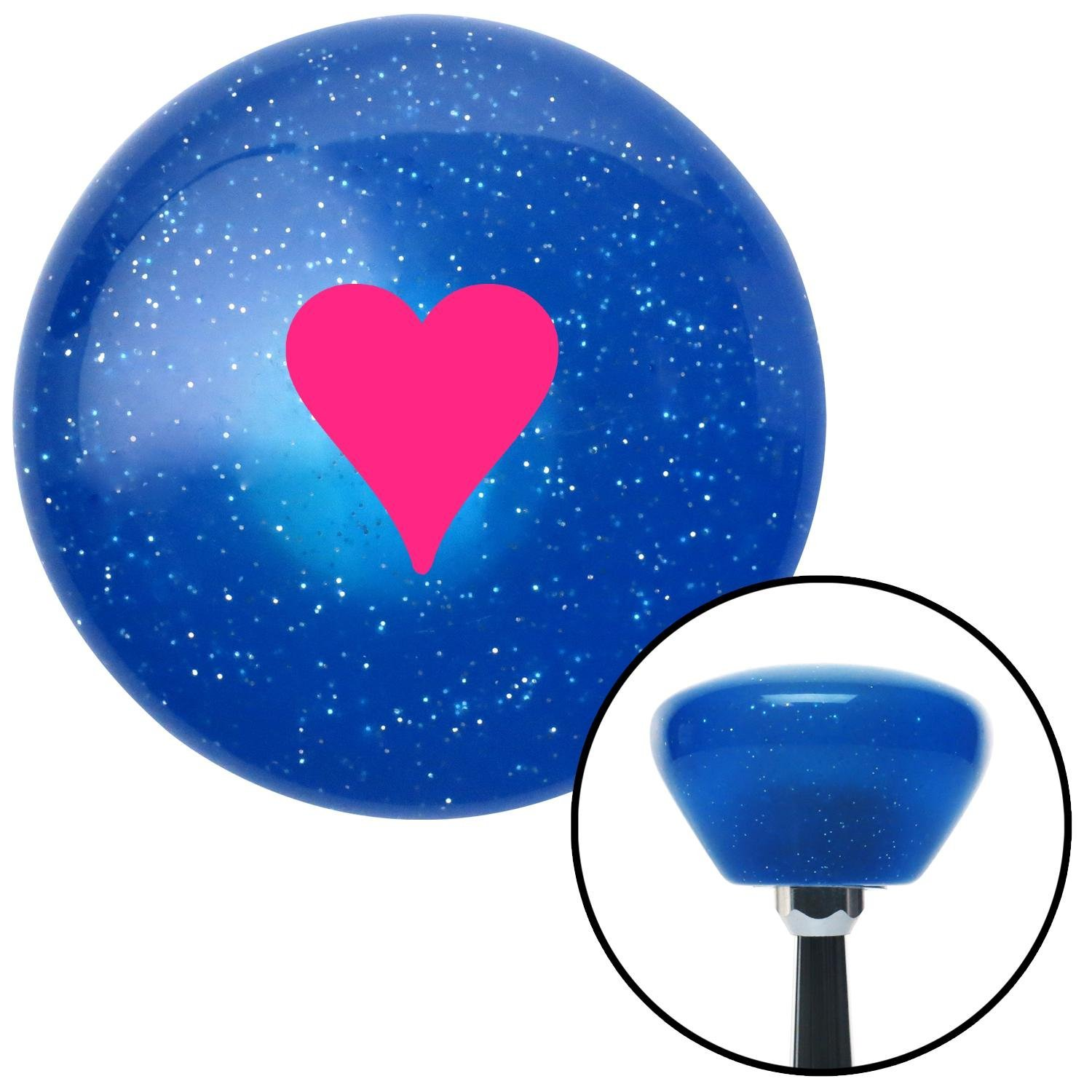 American Shifter 289260 Shift Knob Pink Hearts Blue Retro Metal Flake with M16 x 1.5 Insert