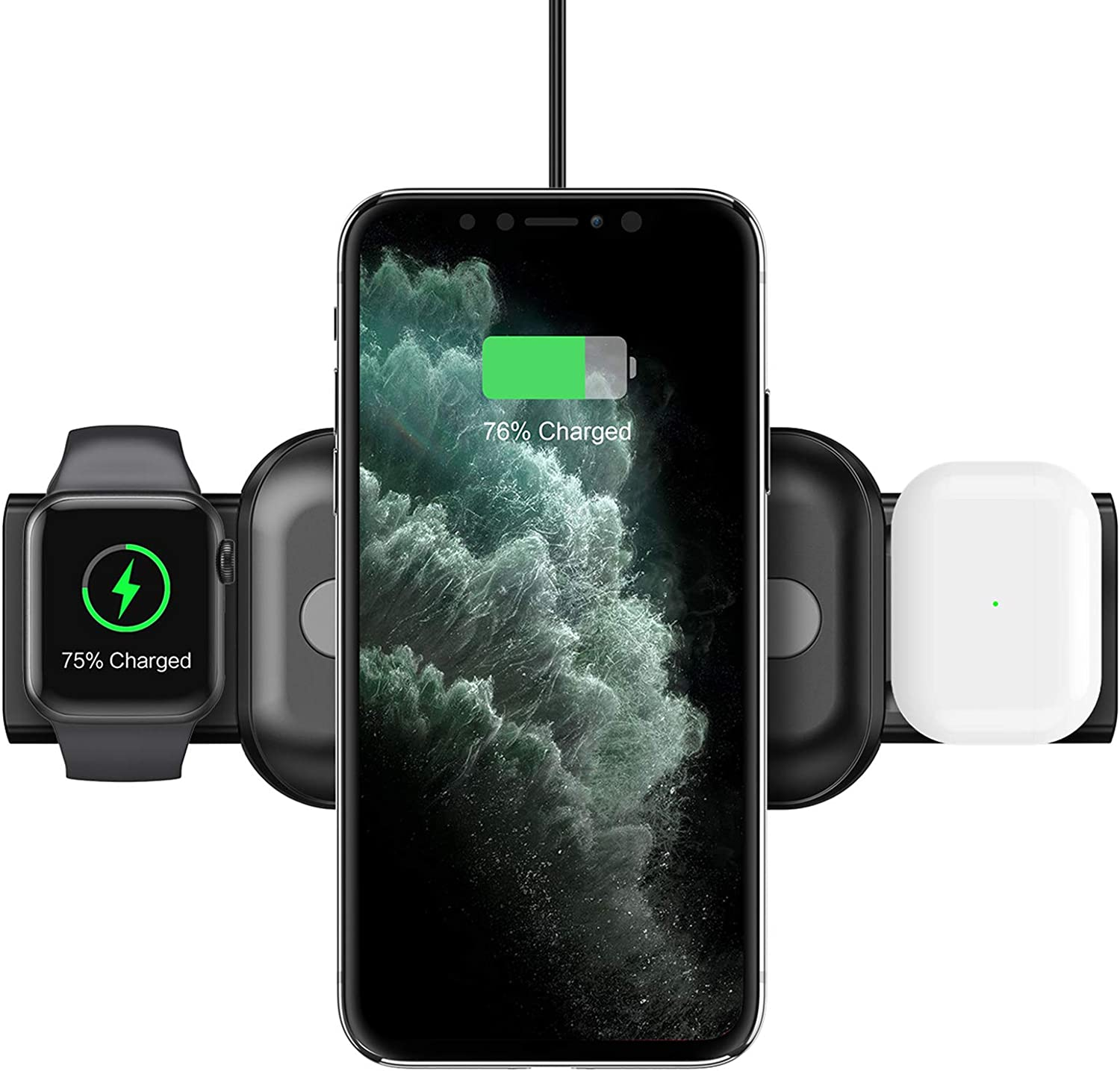 Nalwort 3 in 1 Wireless Charging Station Compatible for iPhone Apple Watch and AirPods Portable Qi Fast Charge Wireless Charger for iPhone 12/11/XR, iWatch Series 6/SE/5/4/3/2/1 and More