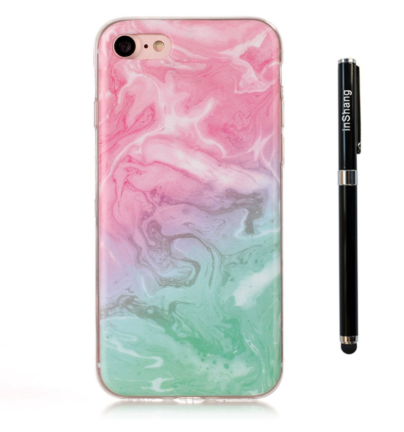 inShang Case for 4.7 iPhone 7 mobile phone Anti Slip,Ultra Slim and Lightweight,TPU material soft shell, Convenient Back Case for 4.7 iPhone 7 with marble pattern+1pc business stylus Pen