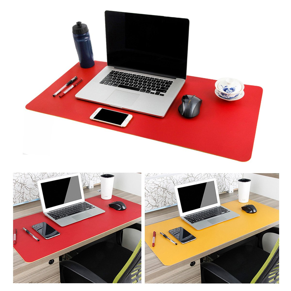 Leather Desk Mouse Pad, Desk Pad Protecter 31.5'' x 15.7'' Non-Slip Comfortable Desk Writing Mat Waterproof PU Leather Mat Dual Use Office Desk Mat (Red&Yellow)