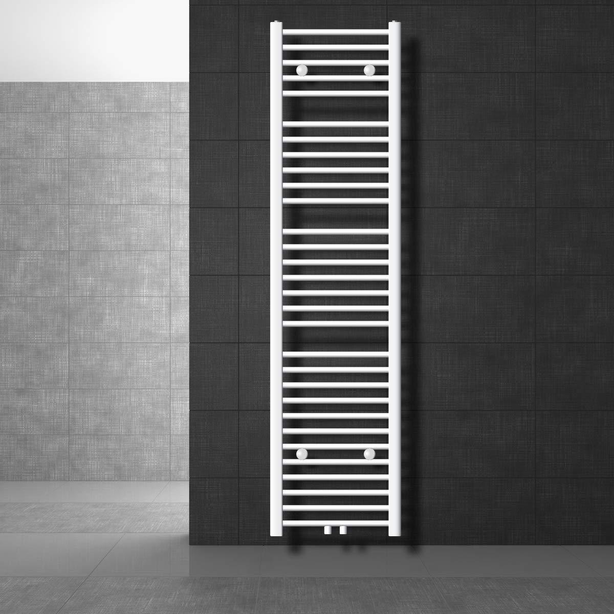 ECD Germany Radiador de toalla Sahara Secador de toalla 500 x 1800 mm Recto con conexi/ón central Calentador de toalla Cromo Toallero