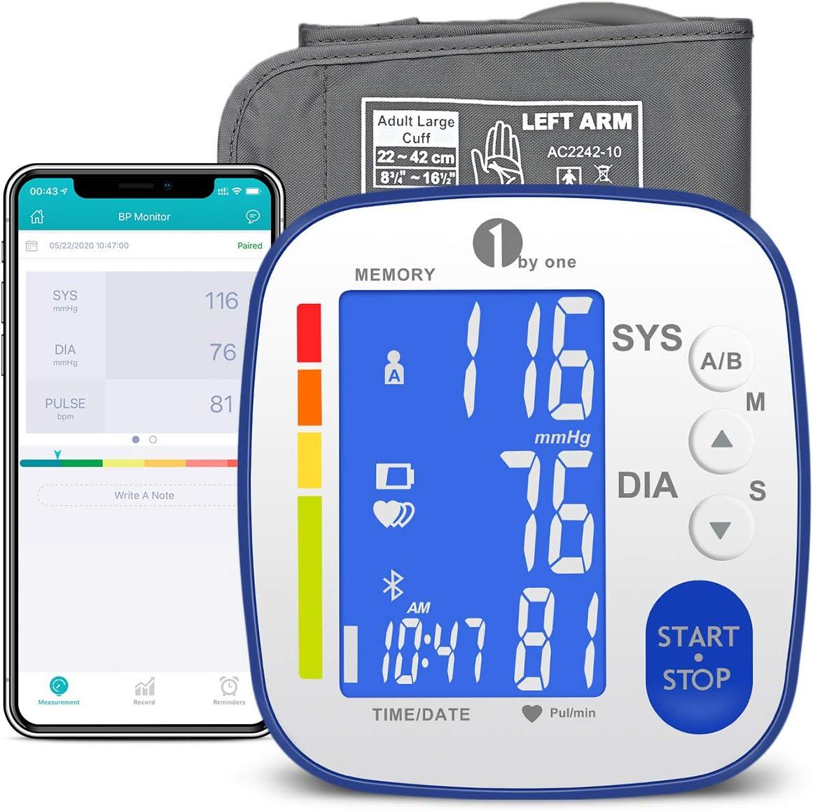 1byone Monitor de presión arterial Bluetooth para el brazo superior con brazalete grande, medición automática de la presión arterial y pulso cardíaco para uso doméstico, 2 × 250 juegos de memoria